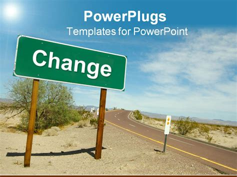 powerpoint templates change change road sign on desert road powerpoint template
