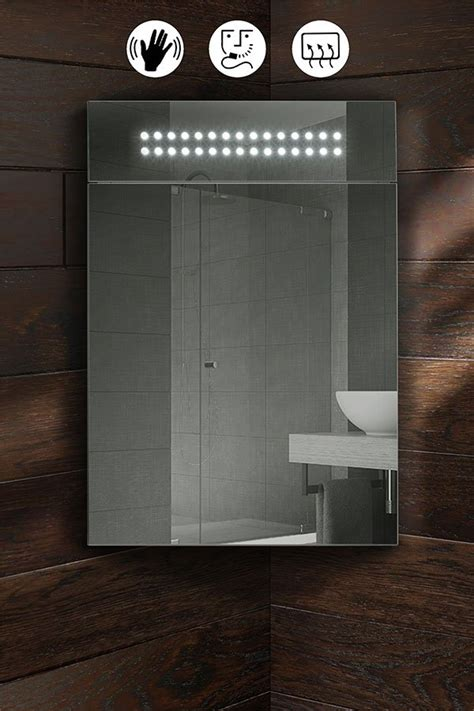 Illuminated Bathroom Mirror Cabinets Panoramic Illuminated Led Bathroom Mirror Corner Cabinet My Furniture