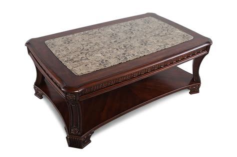 Open Shelf Traditional Cocktail Table in Stained Cherry