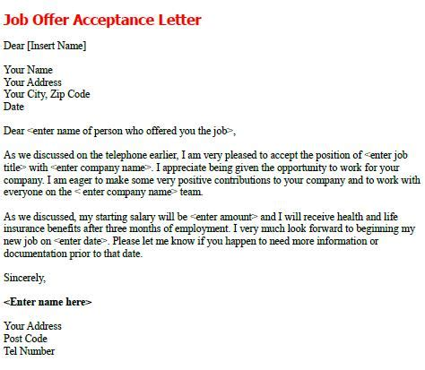 Acceptance Letter For Offer Post Reply