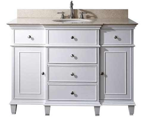 49 inch single bathroom vanity in white with a choice of