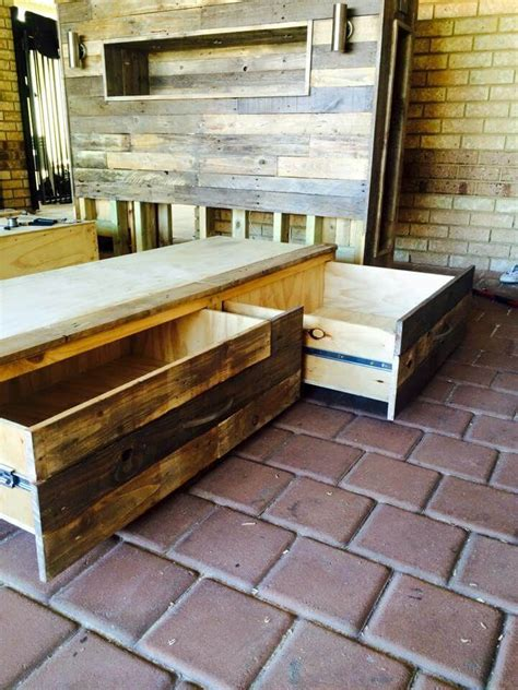 diy pallet bed with storage diy pallet bed with headboard and lights 101 pallet ideas
