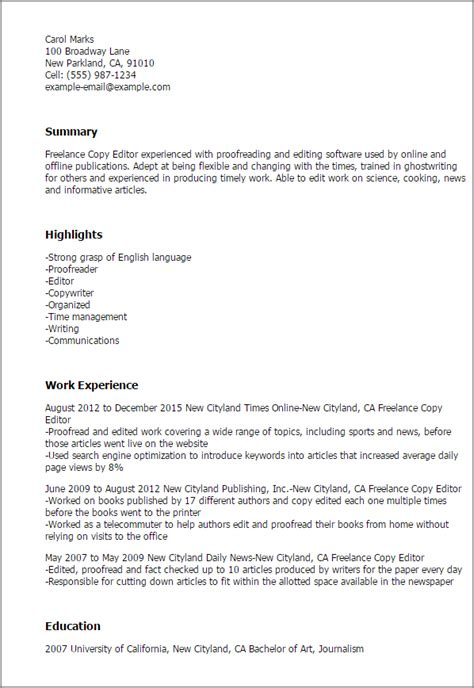 copy editor cover letter professional freelance copy editor templates to showcase