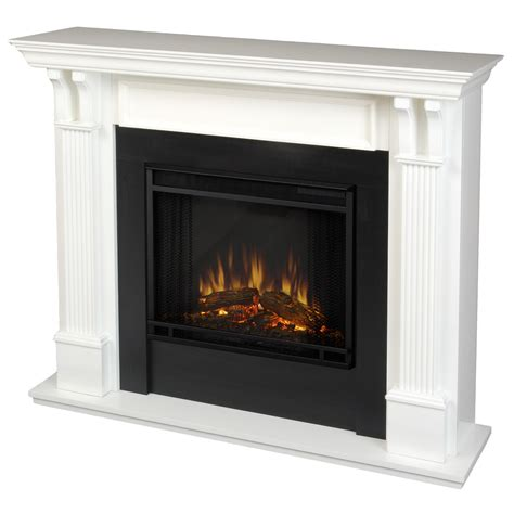 real indoor electric fireplace in white
