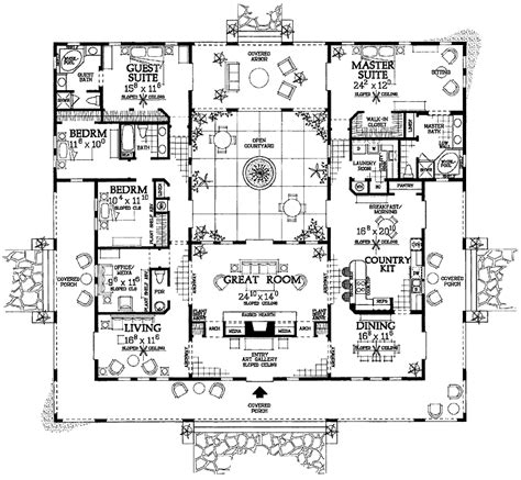 house plan rectangle with courtyard an interior courtyard plan dream floor plans pinterest