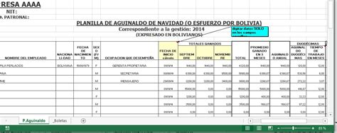 de la planilla de sueldos en excel que incorpora estos cambios formato de planilla doble aguinaldo bolivia impuestos blog