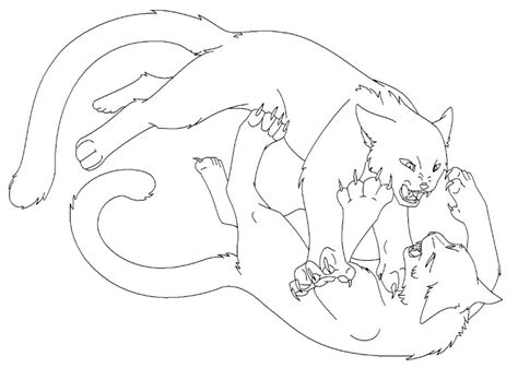 warrior cats coloring pages lineart cats fighting