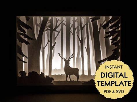 Template Deer In The Woods Paper Cut File Silhouette Light Box Tutorial Pdf Svg Digital Papercut Lightbox Template