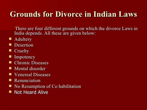 grounds for sectioning divorce laws in india