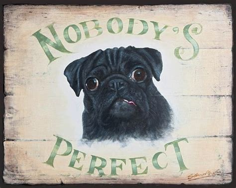 pug home decor black pug dog wooden sign plaque picture print painting by