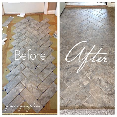 how to lay self stick tile around a toilet ehow diy herringbone peel n stick tile floor before and after