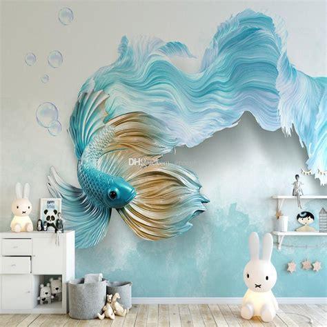luxury  blue fish wallpaper tv backdrop wall mural