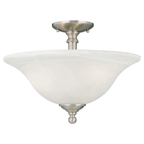 Thomas Lighting Riva 3 Light Brushed Nickel Ceiling Semi Home Depot Flush Ceiling Lights