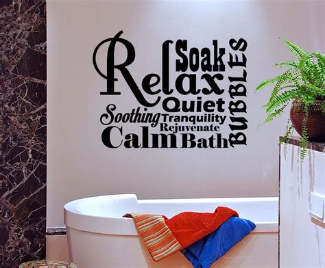 bathroom vinyl wall art relax spa bathroom rules lettering bath word vinyl decor