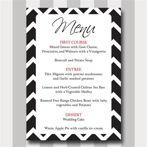 chevron menu card diy printable template modern