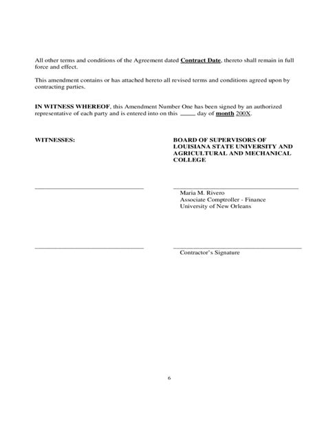 Employment Contract Amendment Letter Sle Contract Amendment Template Free