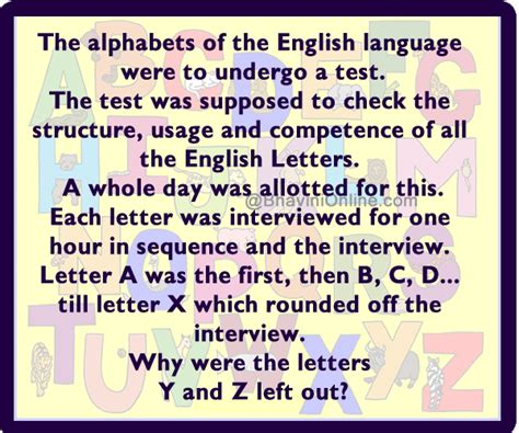 Letter Jokes Jokes Riddle And Stuff Why Were The Letters Y And Z Not Interviewed