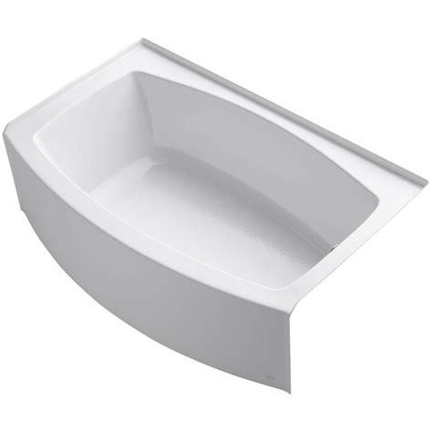kohler soaker bathtubs kohler expanse 5 ft right drain soaking tub in white with