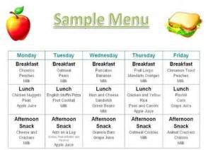 Home Menu Template by Printable Menus Daycares Home Daily Schedule Tuition