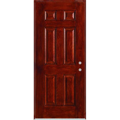 32 Inch Fiberglass Exterior Door Stanley Doors 32 In X 80 In Infinity 6 Panel Stained Fiberglass Woodgrain Prehung Front Door