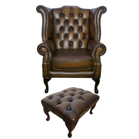 queen armchair chesterfield antique brown queen anne armchair with footstool