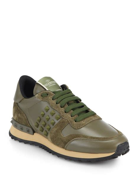 s valentino sneakers valentino rockstud leather suede sneakers in green for