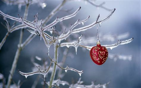 facebook themes christmas ornament hanging on a frozen tree hd wallpapers