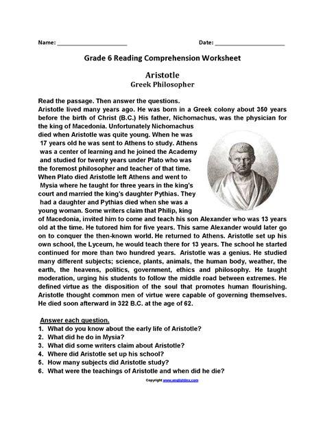 printable reading comprehension tests 6th grade sixth grade reading worksheets worksheets tataiza free