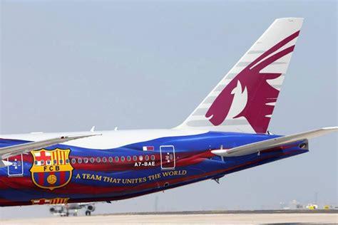 barcelona qatar airways photos qatar airways boeing 777 300er fc barcelona livery