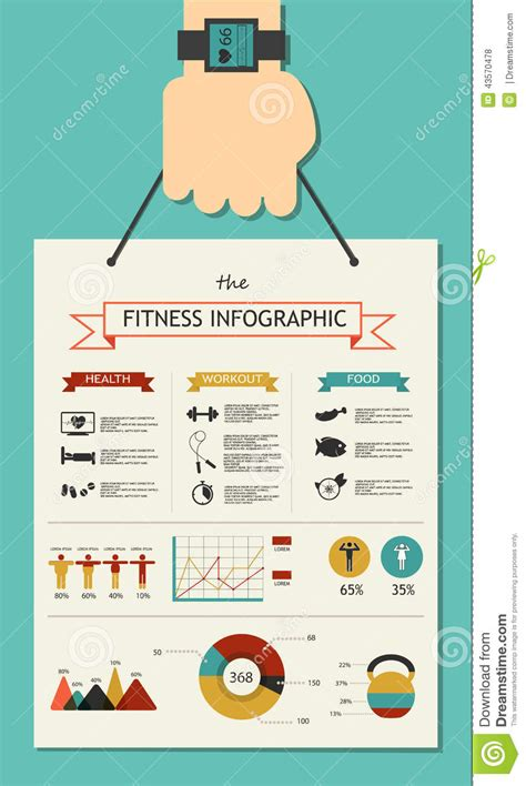 Fitness Infographic In Flat Designed With Hand Stock Vector Image 43570478 Fitness Infographic Template