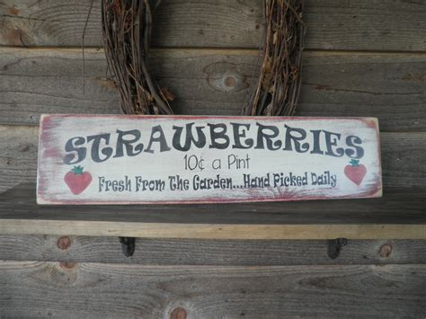 home decor wood signs primitive home decor wood sign hand painted strawberry