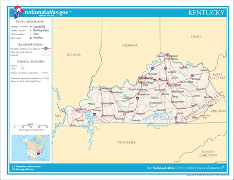 kentucky geography map united states geography for kentucky