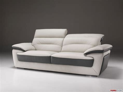 Sofas With Recliners Contemporary Sofa In Two Tone Leather With Reclining Headrest
