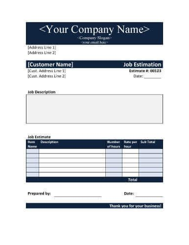 job estimate templates  work quotes excelword