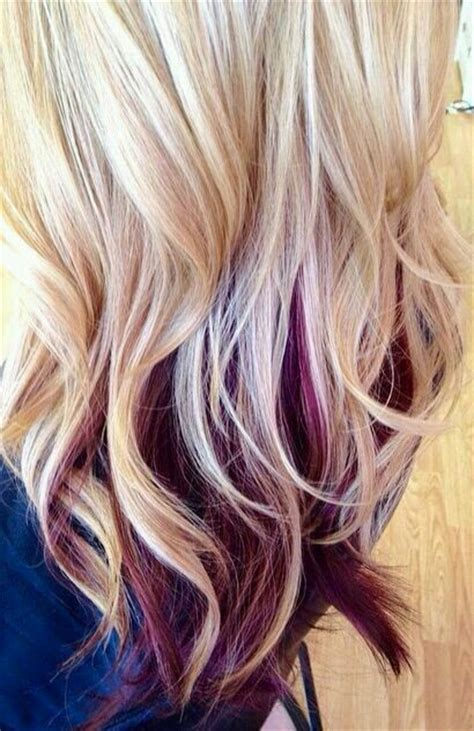 long hairstyles with color underneath blonde with burgundy color short hair don t care