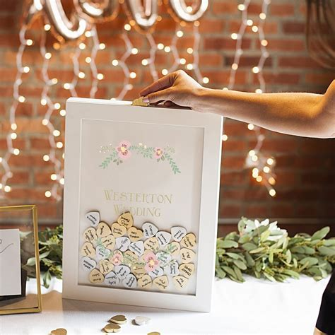 Heart Drop Guest Book Shadow Box Personalized