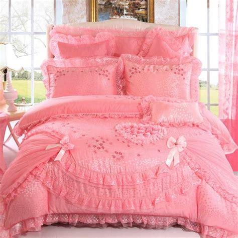 Bed Cover Bantal Set 1115 solid pink lace design shaped size wedding bedding sets