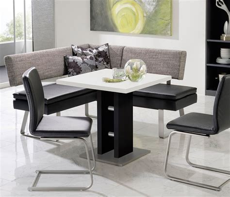 dining table with benches modern modern black and white dining table and grey fabric bench