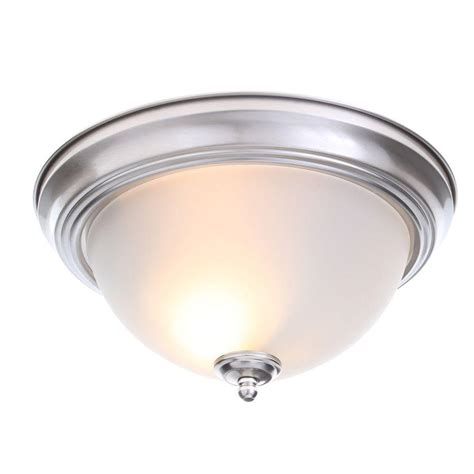 flush mount light commercial electric 13 in 2 light brushed nickel