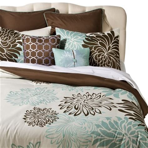 Brown And Blue Bedding by Anya 8 Floral Print Bedding Set Blue Brown Target