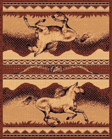 Pw Rugs by Pw Lodge373 8x11 Horses Western Area Rug 8 X 11