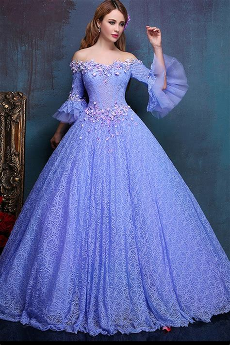 bal gowns fairy ball gown off the shoulder flare sleeve lavender