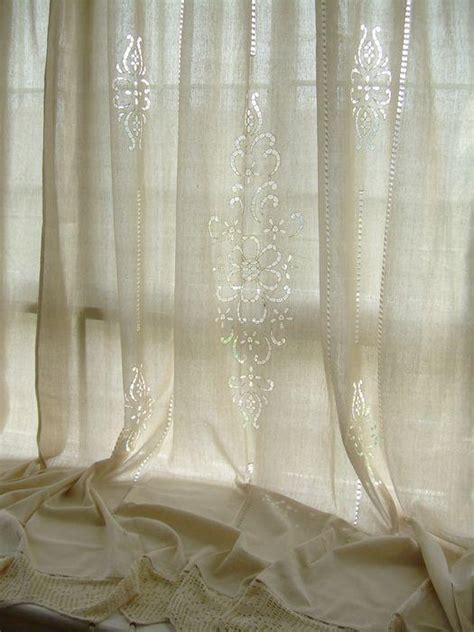 french linen curtains 2 x tab top cotton linen crochet lace beige curtain panel