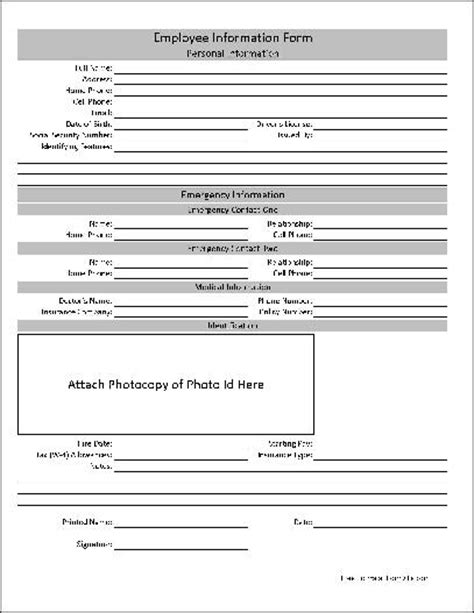 free basic employee information form from formville