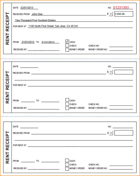 3 how to fill out a rent receipt printable receipt