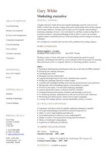 marketing executive cv sample job description sales