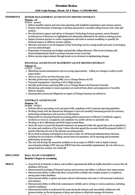Contract Accountant Sle Resume by Contract Accountant Resume Sles Velvet