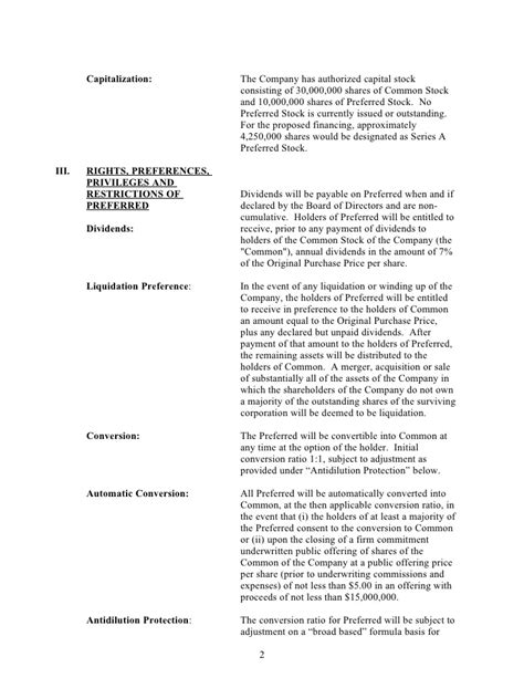 Term Sheet Sle Template by Common Stock Term Sheet Template Templates Resume