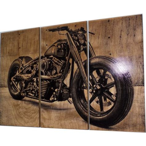 motorcycle home decor harley davidson fatboy softail motorcycle bike print wood