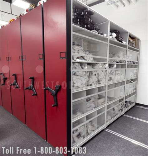 college football team uses high density shelving for